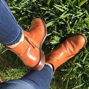 Franco Sarto 🍂🍁camel leather booties Sz 7.5